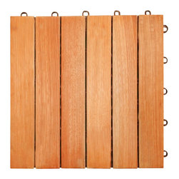 Vifah - Vifah FSC Eucalyptus Interlocking Deck Tile - 6 Slats - Vifah - Tile - V169 - The 6 slat design is one of the classic designs in our collection. In this design, there are 6 vertical wood slats pre-screwed into the interlocking plastic base. This design provides a classic, elegant look for any outdoor decking projects from small to large.