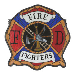 """Meyda - 20""""W X 20""""H Fireman's Shield Stained Glass Window - The cross of malta is a symbol of heroism and braveryas depicted here in the firefighter's emblem. Thismeyda original tiffany window is handcrafted of red,white and blue stained art glass with honey gold andsmoke gray accents. This is a handsome piece of art,was created with the brave men and women who risk theirlives to rescue us and our homes, in mind. Brassmounting bracket and chains are included."""