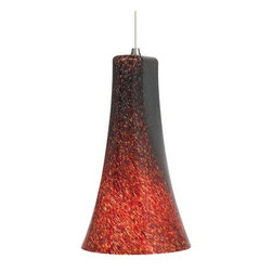 LBL Lighting - LBL Lighting Mini-Indulgent Red Monopoint 1 Light Track Pendant - LBL Lighting Mini-Indulgent Red Monopoint 1 Light Track PendantElegant and stylish, this mini pendant features bell shaped fluted Red glass with colorful frit accents. The included 50 watt xenon lamp creates ample downlight, making this fixture a perfect addition to enhance the style and lighting of any room.Each Monopoint lighting fixture includes a single-point canopy with built-in transformer right out of the box for a quick and easy installation.LBL Lighting Mini-Indulgent Red Monopoint Features: