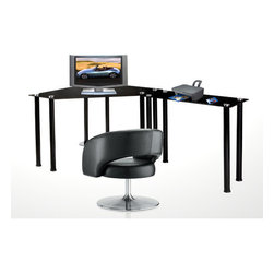 "RTA Home And Office - CT Computer/Laptop Desk Corner Computer Desk with Right Extension Table - This modern looking corner computer desk has great, space saving design that can be fit in corner. 35.5 inch modular extension table gives you room for components and all work space you will need and bottom shelf can store your CPU tower. Features: -Clear tempered glass.-Corner design.-35.5 Inch modular extension table.-Shelf for CPU towers.-Expansive desktop work space.-Choose from left or right hand configuration.-Right hand configuration pictured.-Distressed: No.-Collection: Corner.-Desk Type: Computer Desk.-Powder Coated Finish: Yes.-Gloss Finish: Yes.-UV Finish: No.-Top Material : Glass.-Base Material: Metal.-Hardware Material: Stainless Steel.-Edge Detail: Rounded.-Number of Items Included: 2.-Pieces Included: Computer desk and return.-Non-Toxic: Yes.-Water Resistant: No.-Stain Resistant: No.-Heat Resistant: No.-Style: Contemporary/Modern.-Design: Corner Desk.-Hardware Finish: Brushed nickel.-Eco-Friendly: No.-Cable Management: No.-Keyboard Tray: No.-Height Adjustable: No.-Drawers Included: No.-Jewelry Tray: No.-Exterior Shelving : No.-Cabinets Included: No.-Ergonomic Design: No.-Handedness: Both.-Scratch Resistant: No.-Chair Included: No.-Legs Included: Yes -Number of Legs: 10.-Leg Material: Metal.-Leg Glides: No..-Casters Included: No.-Hutch Included: No.-Treadmill Included: No.-Cork Back Panel: No.-Modesty Panel : No.-CPU Storage: Yes.-Built In Outlet: No.-Built In Surge Protector: No.-Light Included: No.-Finished Back: Yes.-Tipping Prevention: No.-Lifestage: Kids; Teen; Adult.-Application: Home Office; Professional.-Commercial Use: Yes.-Product Care: Wipe clean with glass cleaner.-Weight Capacity: 100 lbs.-Swatch Available: No.-Recycled Content: No.Specifications: -EPP Certified: No.-CARB Compliant: No.-ISTA 3A Certified: Yes.-General Conformity Certificate: No.-Green Guard Certified: No.-ANSI BIFMA Certified: No.-SCS Certified: No.-ADA Compliant: No.-FIRA Certified: No.-GSA Approved: No.Dimensions: -Overall dimensions: 29.5'' H x 38.25'' W x 73.75'' D.-Overall Product Weight: 85 lbs.-Overall Height - Top to Bottom: 29.5"".-Overall Width - Side to Side: 73.75"".-Overall Depth - Front to Back: 33.5"".-Desk Return: -Desk Return Height - Top to Bottom: 29.5"".-Desk Return Width - Side to Side: 35.5"".-Desk Return Depth - Front to Back: 16"".-Desk Return Overall Weight: 25 lbs..-Desktop Height: 29.5"".-Desktop Width - Side to Side: 73.75"".-Desktop Depth - Front to Back: 33.5"".-Knee Space Height: 29.5"".-Knee Space Width: 30"".-Knee Space Depth: 25"".-Legs: -Leg Height: 3"".-Leg Width - Side to Side: 2.5"".-Leg Depth - Front to Back: 2.5""..Assembly: -Assembly Required: Yes.-Tools Needed: Tools included.-Additional Parts Required: No.Warranty: -Carries 1 year warranty against defects.-Product Warranty: 1 year parts warranty."