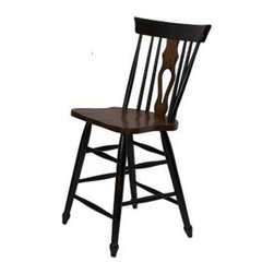 Sunset Trading - Sunset Trading Fiddleback Counter Height Chairs - Set of 2 - Black & Chestnut - - Shop for Stools from Hayneedle.com! Bring some cozy country comfort into your dining area with the Sunset Trading Fiddleback Counter Height Chairs - Set of 2 - Black & Chestnut. The set includes a pair of fiddleback counter-height chairs with curved comfortable backs and scooped seats. The large backrest and seating area provides an ideal seating solution. Plus perfectly carved turned legs add to the visual effect. The chairs are made from eco-friendly Asian Ramon hardwood and finished in rich black and chestnut brown. Dimensions: 18.5W x 21D x 40H inches.About Sunset TradingThis product is designed and manufactured by Sunset Trading. Located in Londonderry New Hampshire Sunset Trading creates high quality furniture for bedrooms living and dining rooms. Their furniture features side roller drawer guides four corner English dovetails solids and veneers. Dining rooms feature epoxy resin constructed chairs with metal support brackets which make their chairs 100 times stronger than glued chairs. Rest assured you're making an excellent choice when you purchase a fine furniture item from Sunset Trading.