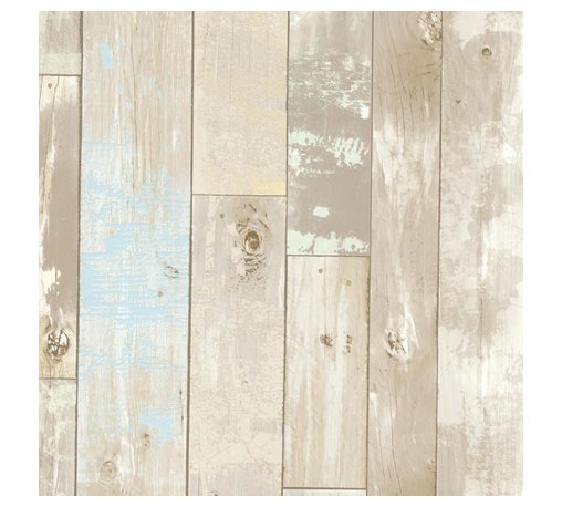 Brewster Home Fashions - Dean Neutral Distressed Wood Panel Wallpaper Bolt - Invite coastal charm to your decor with a beachy chic wall covering that reconstructs walls into a fabulous wooden haven of natural tones and ocean inspired accents.