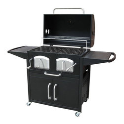 "Landmann - Bravo Premium Charcoal Grill - 63 in. L X 26 in. W X  46 in. H (98.1 lbs). Firebox size:  31.5"" x 19.7"". Primary cooking size:  581 sq. in. Secondary cooking size:  227 sq. in.. Total cooking size:  808 sq. in.. Dual Charcoal grates adjust to multiple positions by crank handle. Large grilling capacity with porcelain cast iron grates. Two front panels with large handles gives easy access to charcoal. Large removable ash tray covers entire grill bottom for easy cleanup. Includes large handles and temperature gauge, stainless and chrome accents . Heavy duty locking caster wheels & Large storage cabinet. Large side tables with handles for work space"