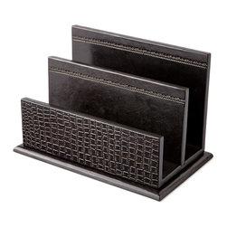 NM EXCLUSIVE - Black Crocodile-Print Leather Letter Rack - NM EXCLUSIVEBlack Crocodile-Print Leather Letter Rack