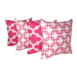 Land of Pillows - Premier Prints Fynn Candy Pink and Gotcha Candy Pink Throw Pillows - 4 Pack, 16x - Fabric Designer - Premier Prints