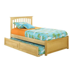Atlantic Furniture - Twin Brooklyn Platform Bed / Raised Panel Trundle / Natural Maple - This platform bed has a clean mission style that will give any room a more polished look. Includes a 14-piece solid hardwood slat kit Height of bed can be adjusted; the bed can be used with or without a box spring.