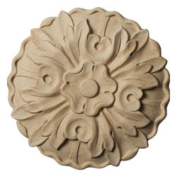 """Ekena Millwork - 4 1/2""""W x 4 1/2""""H x 5/8""""D, Small Kent Floral Rosette, Maple - Our rosettes are the perfect accent pieces to cabinetry, furniture, fireplace mantels, ceilings, and more.  Each pattern is carefully crafted after traditional and historical designs.  Each piece is carefully carved and then sanded ready for your paint or stain.  They can install simply with traditional wood glues and finishing nails."""