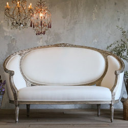 Eloquence Versailles Canape Antique Silver Sofa - I absolutely have a thing for petite French-inspired settees, and this one from Layla Grace is gorgeous!