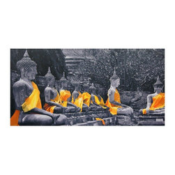 Oriental Furniture - Golden Sash Buddhas Canvas Wall Art - Dynamic black and white print of large Buddha statues adorned with festive sashes. The sashes are colorized digitally to emphasize the bright saffron color. Distinctive oriental artistic imagery printed onto fine art quality canvas, then mounted on kiln dried wood frames.