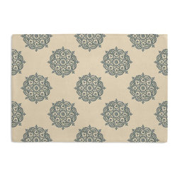 Blue Medallion Block Print Custom Placemat Set - Is your table looking sad and lonely? Give it a boost with at set of Simple Placemats. Customizable in hundreds of fabrics, you're sure to find the perfect set for daily dining or that fancy shindig. We love it in this eclectic medallion block print in pale blue & taupe on lightweight ivory cotton. hand printed in india.