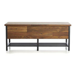 Teca Storage Trunk-Bench - This trunk bench will sit nicely in the entryway or underneath the window.