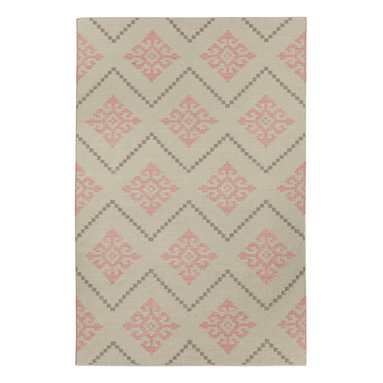 """Sno rug in Peony - """"I was inspired to create a pattern that resembled the needlework that I had seen in Norway. The geometric patterns were almost tribal and so familiar, though some are over 1000 years old. Sno is a Scandinavian homage to the Mandala."""" - Genevieve Gorder"""