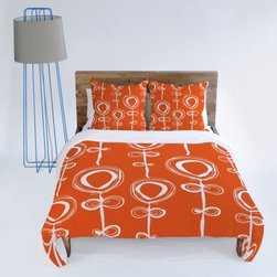 DENY Designs Rachael Taylor Contemporary Orange Duvet Cover - Add a bold splash of color to your bedroom decor with the DENY Designs Rachael Taylor Contemporary Orange Duvet Cover. This lovely duvet cover has an art pattern by Rachael Taylor, printed using a six-color dye process to ensure bright, vivid, long-lasting color.About DENY DesignsDenver, Colorado based DENY Designs is a modern home furnishings company that believes in doing things differently. DENY encourages customers to make a personal statement with personal images or by selecting from the extensive gallery. The coolest part is that each purchase gives the super talented artists part of the proceeds. That allows DENY to support art communities all over the world while also spreading the creative love! Each DENY piece is custom created as it's ordered, instead of being held in a warehouse. A dye printing process is used to ensure colorfastness and durability that make these true heirloom pieces. From custom furniture pieces to textiles, everything made is unique and distinctively DENY.