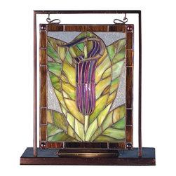 Meyda Tiffany - Meyda Tiffany Jack-In-The-Pulpit Tabletop Mini Window X-25586 - This Meyda Tiffany tabletop mini window is a great way to add traditional charm to your home. From the Jack-In-The-Pulpit Collection, this lighted mini tabletop window features beautiful shades of amethyst purple and woodsy green with brown trim detailing. Copperfoil construction and a brass frame ensure durability.