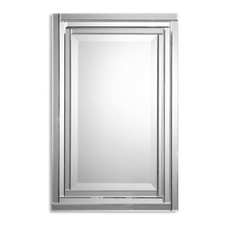 """Uttermost - Uttermost Alanna Frameless Vanity Mirror 08027 B - This frameless mirror is constructed of stepped, bevel mirrors with polished edges for a smooth, clean finish. Center mirror has a generous 1 1/4"""" bevel. May be hung either horizontal or vertical."""