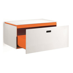 WS Bath Collections - Storage Base Vanity Unit with One Drawer in W - Modern/contemporary design. Designer high end quality cabinet. Works with all our vessel sinks/washbasins. Made from mattstone panelled and powder coated painted aluminum. Warranty: One year. Made in Italy. 27.6 in. W x 16.5 in. D x 13 in. H (65 lbs.). No assembly required. Spec SheetLinea; washbasins, washstands, and bathroom furniture, of various sizes and materials. Pureness of glass, polish of steel, and warmth of wood. Perfection of lines, art, and harmony.
