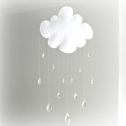 Rain Cloud Mobile by Lullaby Mobiles - Keep it soft and simple with this white rain cloud mobile. I love the crystal raindrops.