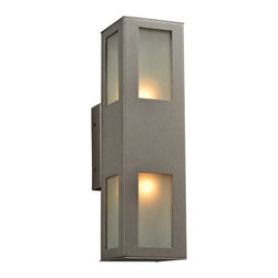"""PLC - Tessa Collection 16"""" High Bronze Outdoor Wall Light - Add light and security to your outdoor spaces with this modern outdoor wall light that is UL listed for use in wet locations. Clean straight lines define this rectangular bronze finish fixture. A frosted glass diffuser ensures an even light throw. Tessa collection outdoor sconce. Bronze finish. Frosted glass diffuser. UL listed for wet locations. Takes two maximum 60 watt or equivalent bulbs (not included). 16"""" high. 4 1/4"""" wide. Extends 6 1/4"""" from the wall.  Tessa collection outdoor sconce.  Bronze finish.  Frosted glass diffuser.  UL listed for wet locations.  Takes two maximum 60 watt or equivalent bulbs (not included).  16"""" high.  4 1/4"""" wide.  Extends 6 1/4"""" from the wall."""