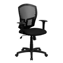 Flash Furniture - Mid-Back Designer Back Task Chair with Padded Fabric Seat and Arms - This contemporary Designer Back Office Chair features a perforated plastic back and will keep you cool and comfortable throughout the day. This chair features a back tilt lock and pneumatic seat lift.