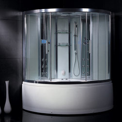 Atlas International Inc - Steam Shower with Whirlpool Bathtub - Ariel Platinum - These fully loaded steam showers include a whirlpool bathtub, massage jets, chromotherapy, aromatherapy and built in FM radio for easy listening s to help increase your therapeutic experience.