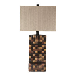 "Signature Design by Ashley - 30"" Helki Set of 2 Table Lamps Multi-Brown - A set of two: Multi brown ceramic table lamps topped with rectanglular shades"