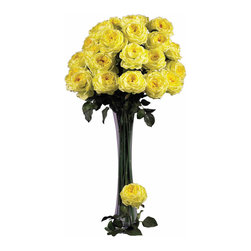 """Nearly Natural - 31"""" Large Rose Stem (Set of 12) - Ok, think about """"love"""", and what flower comes to mind? The rose, of course! Bursting with color, these roses are created to represent flowers at a peak bloom; with full, lush heads and petals that command attention (and will last forever). Complete with hunter green stems and faux thorns, these look so real your guests will be """"stopping to smell the roses"""" every time they come over. Sold as a set of 12."""