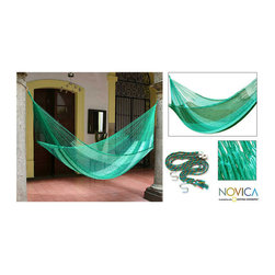 Novica - Hand-woven Large Deluxe Caribbean Dream  Hammock (Mexico) - Inspired by the serene green of the Mexican Caribbean, this hammock will liven up your garden, patio, or deck. The luxurious patio furniture comes with everything you need for set up and packs easily for travel.