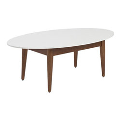 Sleek and Sophisticated Table - There's a wealth of coffee tables out there, so choose wisely. This one is perfect for the stylista who loves a touch of modern and a splash of vintage. The wood legs offer the past and the white top sings of the future.