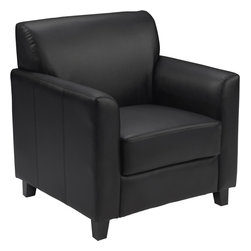 Flash Furniture - Black Leather Chair - Make an impression with your clients and customers with this attractive leather reception chair. Reception chairs are perfect for the office and waiting room seating. Not only will this chair fit in a professional environment, but will add a chic look to your living room space. The contemporary design of this chair will fit in a multitude of environments with its comfortable cushions, flared arms and black feet.