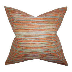 The Pillow Collection - Bartram Stripes Pillow Orange - Bring a stylish and modern feel to your home with this square pillow. Decorated with a beautiful stripe pattern in shades of gray and orange. Lend some comfort to your sofa, couch or bed with a few pair of this plush throw pillow. Constructed with a blend of 74% polyester and 26% acrylic fabric.