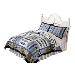 Pem America - Catch a Wave Full / Queen Quilt with 2 Shams - Classic blues and greens of the sea dominate this surfing inspired quilt with a Hawaiian shirt influence.  100% cotton face cloth with cotton fill make this quilted bedding ensemble the perfect catch.  On the quilt face, the surfboards are pieced and applique and bring a pop to the quilt with accents in bright orange and red. Mini set includes the following bedding: 1 full / queen quilt 86 inches x 86 inches. Includes 2 standard shams 20 x26 inches. Face cloth is prewashed 100% natural cotton.  Fill is 94% cotton / 6% other fibers. Hand crafted with embroidery. Machine washable.