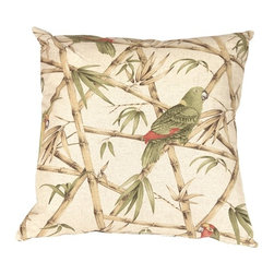 Pillow Decor - Pillow Decor - Bamboo Parrots 22 x 22 Throw Pillow - The Bamboo Parrot 22 x 22 Decorative Throw Pillow features parrots perched on criss crossing bamboo branches. The muted soft colors in this pillow include shades of beige, brown, Green, mustard Yellow and small patches of red. The background color is a soft, speckled sand tone. The printed design is on both the front and the back of the pillow, which is finished with a color matched zipper. The generous 22 x 22 size really shows off this pillows beauty and originality. It looks great on a sofa combined with solid Green, brown or red pillows. It is also fantastic on a stand alone chair as a statement piece.