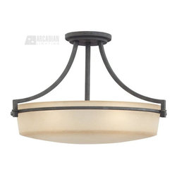 Quoizel - Quoizel QZ-CTL1722GK Caitlyn Transitional Semi Flush Mount Ceiling Light - Large - A contemporary twist on Americana. The amber seedy glass in a long tubular shape adds height and drama to the simple arms and body. The grey ash finish is dark and sets the tone for this stylish series.