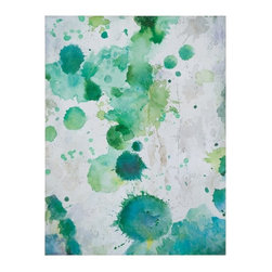 Grace Feyock - Grace Feyock Spots of Emerald Contemporary / Modern Wall Art / Wall Decor X-8724 - This artwork has been hand painted on canvas and then stretched and applied to wooden stretchers. Due to the handcrafted nature of this artwork, each piece may have subtle differences.