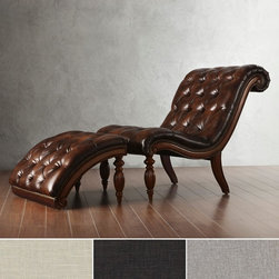 TRIBECCA HOME Bellagio Classic Tufted Chaise Lounge with Ottoman -