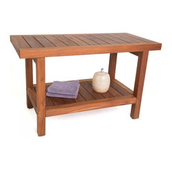 "Aqua Teak - 30"" Teak Shower Bench with Shelf - From the Spa Collection - Another great teak bench from our Spa Collection; this teak shower bench has amazing versatility and is elegant enough to be used indoors or outdoors. It is naturally water resistant making it ideal for use as a teak shower stool, coffee table, or bath seat. With an additional shelf for extra storage space, the teak shower seat is both beautiful and functional! Made exclusively with sustainably harvested teak wood, we are so confident that you will love this teak shower seat that we offer a 30 day satisfaction guarantee and 5 year warranty on all of our products. (Some assembly required) Dimensions: 30""w x 18""h x 13.75""d"