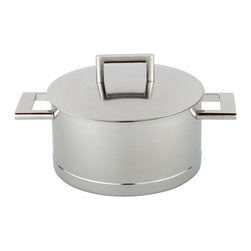 Demeyere - John Pawson Dutch Oven with Lid, 5.5 Quart - Designed by famous  British architect, John Pawson, this cookware collection is for use on all types of heating sources, including gas, electric, and induction. Demeyere uses the revolutionary patented InductoSeal technology, which uses seven different alloys in combination with stainless steel and copper, encapsulated into the base of each pan. finished thick layer of 18/10 stainless steel. This unique technology guarantees an optimal heat distribution through the bottom of thr pan. It provides a heat-conducting surface that is 33% larger than a traditional pan surface. Demeyere also uses Silvinox surface treatment to extract impurities and create a lifelong silver white finish. Piece comes with casted and welded stainless steel handles and rolled pouring edges for easy transfer of liquids. No difficult to clean screws or rivets. Dishwasher safe. 30-year warranty. Made in Belgium.