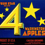 Buyenlarge - Four Star Brand Washington Apples 12x18 Giclee on canvas - Series: Fruits & Vegetables