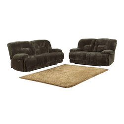 Homelegance - Homelegance Geoffrey 2-Piece Reclining Living Room Set in Chocolate - Sure to please the gadget lover in any household is the Geoffrey collection. With the touch of a button you automatically recline in this comfortable seating offering. Further enhancing this electronic wonder is the chocolate textured plush microfiber cover.