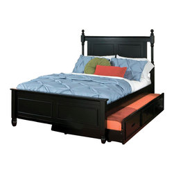 Homelegance - Homelegance Morelle Captain's Bed with Trundle in Black - Full - The warmth of cottage living is invoked by the classic styling of the Morelle collection. The collection is designed with many features perfect for today s casual lifestyle such as a low post bed with simple picture framing and round finials plus molded-drawer fronts and satin nickel knobs on the case pieces. The addition of a pull out trundle and toy box offerings further the functionality of the collection. The ability to choose from twin, full, queen, California king and Eastern king bed sizes makes this group perfect for youth bedrooms, guest bedrooms or master bedrooms. Adding to the versatility are two distinct painted finishes, black and white.