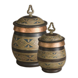 Uttermost - Cena, Canisters, Set Of 2 - These decorative, terra cotta canisters have a distressed chestnut finish with sage green, blue, golden yellow, and antiqued metallic copper hand painted details. Removable lids. Sizes: Sm-7x13x7, Lg-10x15x10