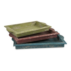 """IMAX CORPORATION - Aja Wooden Trays - Set of 3 - Aja Wooden Trays. Set of 3 trays in varying sizes measuring approximately 2.5""""H x 19.25-21.25-23""""W x 11.5-13-14.75"""" each. Shop home furnishings, decor, and accessories from Posh Urban Furnishings. Beautiful, stylish furniture and decor that will brighten your home instantly. Shop modern, traditional, vintage, and world designs."""