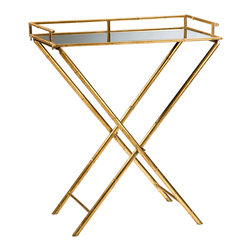 Kathy Kuo Home - Hollywood Regency Gold Leaf  Bamboo Mirrored Tray Table - This stunning Hollywood Regency table is definitely ready for its close up.  Gold leafed, bamboo legs create an elegant setting for a mirrored top.   While slim enough for small spaces, this scene stealer delivers larger than life style, fit for a star.