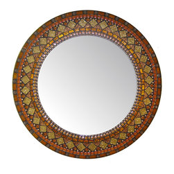 Heirloom Collection Mosaic Mirrors - Custom glass mosaic mirror in orange, rust, gold, and copper color scheme.  Materials used include stained glass, copper beads, and five different varieties of glass mosaic tile.  Custom sizes and color schemes available;  price varies upon size.