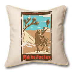 Museum of Robots - Pillow Cover: Wish You Were Here - Imagine intergalactic travel with one of our Space Travel Series pillow covers. Remember those sing-alongs by the camp fire and long rides with your favorite cowbot? This pillow cover will remind you of that trip to the galaxy's most-loved dude ranch. Art by artist Sarah Dungan.