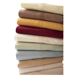 "Bed Linens - 300 TC Queen size sheets Solid 100% Egyptian Cotton Sheet Set, Queen, Chocolate - 100% Egyptian cotton, Sateen Weave. *300 Thread Count *Deep Pockets 15"" *4"" Hemming with Festoon/piping *Fitted with elastic all around for proper fit"