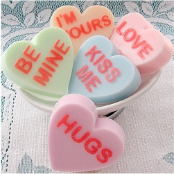 Conversation Hearts Valentine Soaps by So Stinking Sweet - Don't forget about the bathroom when you decorate your home for Valentine's Day. And don't forget to tell guests (or your kids) that these cute Conversation Hearts Soaps aren't edible!
