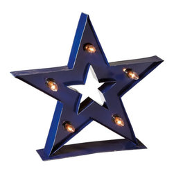 Star Bright Table Light - Add some starry shimmer to your desktop while maintaining your down-to-earth style. This hefty metal lamp is fitted with five mini bulbs for a stylish, gentle glow.