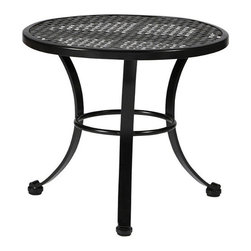 Frontgate - Verano Outdoor End Table, Patio Furniture - Crafted from hand-forged wrought iron. Electro-galvanized iron treatment provides weather resistance. Finished with our specially formulated, high UV-resistant powder coating Ebony finish. Spring chair features highest quality spring steel, providing supreme spring movement. Tables require some assembly. Verano, the Spanish word for summer, inspires the Verano Collection by Summer Classics&reg Perfect for any season, this collection features hand-forged scroll arms and a delicate lattice design on seats and backs. The intricate pattern in the seat and back is formed by stamped steel that is electro-galvanized and then powder coated in a UV-resistant finish. . . . . . Pillows feature exclusive Sunbrella&reg fabrics, the finest solution-dyed, all-weather material available.