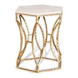 Interlude - Roja Hexagonal Side Table - Sick of squares? Cynical about circles? If you want to inject some fresh geometry into your design, give this hexagonal side table a spin.